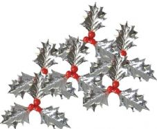 Silver Holly and Berries Cake Topper